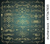 set of hand drawn golden luxury ...   Shutterstock .eps vector #497367835