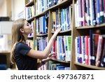 portrait of clever student... | Shutterstock . vector #497367871