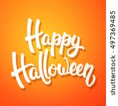 halloween greeting card with...   Shutterstock .eps vector #497369485