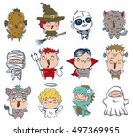 vector set icons children with...