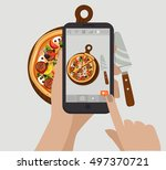 pizza. hand holding smartphone... | Shutterstock .eps vector #497370721