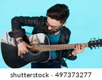 close bearded hipster man... | Shutterstock . vector #497373277