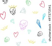 colorful print with skulls ... | Shutterstock .eps vector #497373541