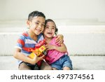 brother sister elementary... | Shutterstock . vector #497374561