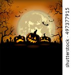 halloween background with scary ... | Shutterstock .eps vector #497377915