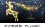 christmas card with silhouette... | Shutterstock .eps vector #497386504