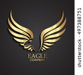 3d golden abstract winged eagle ... | Shutterstock .eps vector #497388751