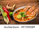 tom yum goong thai hot spicy... | Shutterstock . vector #497390089