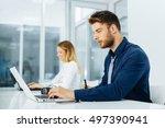 businessman working on laptop... | Shutterstock . vector #497390941