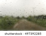 on a rainy day with raindrop... | Shutterstock . vector #497392285
