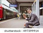happy indian man with coffee at ... | Shutterstock . vector #497399914
