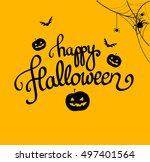 happy halloween orange poster... | Shutterstock .eps vector #497401564