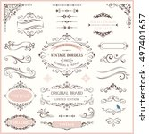ornate retro labels  flourishes ... | Shutterstock .eps vector #497401657