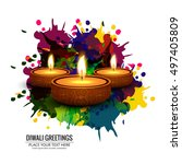 abstarct happy diwali background | Shutterstock .eps vector #497405809