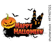 happy halloween poster  night... | Shutterstock .eps vector #497407321
