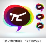 man stretching on colorful... | Shutterstock .eps vector #497409337