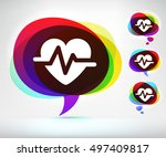 heart rate on colorful speech... | Shutterstock .eps vector #497409817