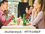 cheerful happy friends toasting ... | Shutterstock . vector #497414869