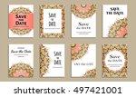 save the date. set of cards... | Shutterstock .eps vector #497421001