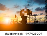 Stock photo silhouette team business engineer work connecting jigsaw puzzle piece together team responsible 497429209