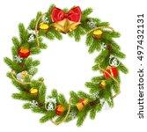 vector fir wreath with golden... | Shutterstock .eps vector #497432131