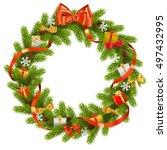 vector fir wreath with gifts | Shutterstock .eps vector #497432995