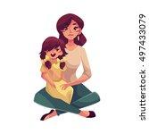 mother daughter sitting on... | Shutterstock .eps vector #497433079