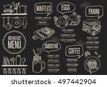 breakfast menu placemat food... | Shutterstock .eps vector #497442904