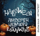 halloween hand drawn creepy... | Shutterstock .eps vector #497447857