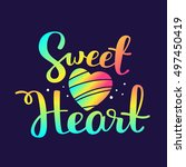 sweet heart   rainbow gradient... | Shutterstock .eps vector #497450419