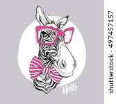 zebra portrait in a striped tie ... | Shutterstock .eps vector #497457157