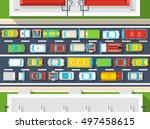 top view poster of traffic jam...   Shutterstock .eps vector #497458615