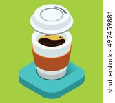 coffee  the isometric icon | Shutterstock .eps vector #497459881