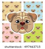 seamless kids dog pattern set...   Shutterstock .eps vector #497463715