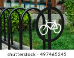 Round Sign With A White Bicycl...