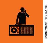 dj icon. orange background with ...