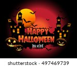 happy halloween poster  night... | Shutterstock .eps vector #497469739