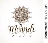vector illustration of mehndi... | Shutterstock .eps vector #497473684