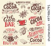 hot cocoa hand lettering set... | Shutterstock .eps vector #497486791