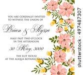 poinsettia wedding invitation... | Shutterstock .eps vector #497487307