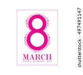 happy 8 march icon in pink... | Shutterstock .eps vector #497491147