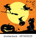 old witch on a broom  surfing...   Shutterstock .eps vector #497493529
