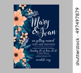 poinsettia wedding invitation... | Shutterstock .eps vector #497497879
