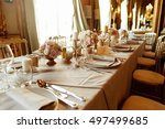 table number two stands before... | Shutterstock . vector #497499685