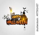 halloween vector design with... | Shutterstock .eps vector #497501437