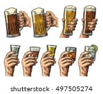 male hand holding a glass with... | Shutterstock . vector #497505274