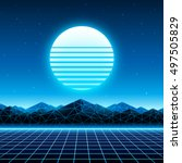 Retro futuristic background 1980s style. Digital landscape in a cyber world. Retrowave music album cover template with sun, space, mountains and laser grid on terrain.   Shutterstock vector #497505829