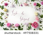 border of pink and white roses... | Shutterstock . vector #497508331