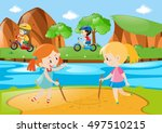 four kids playing in the public ... | Shutterstock .eps vector #497510215