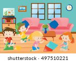 children folding plane paper in ... | Shutterstock .eps vector #497510221